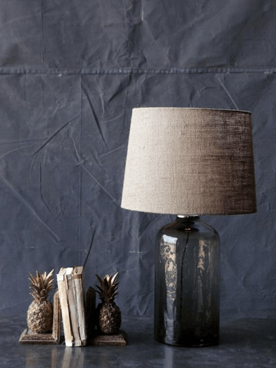 Glass Burlap Table Lamp Detail