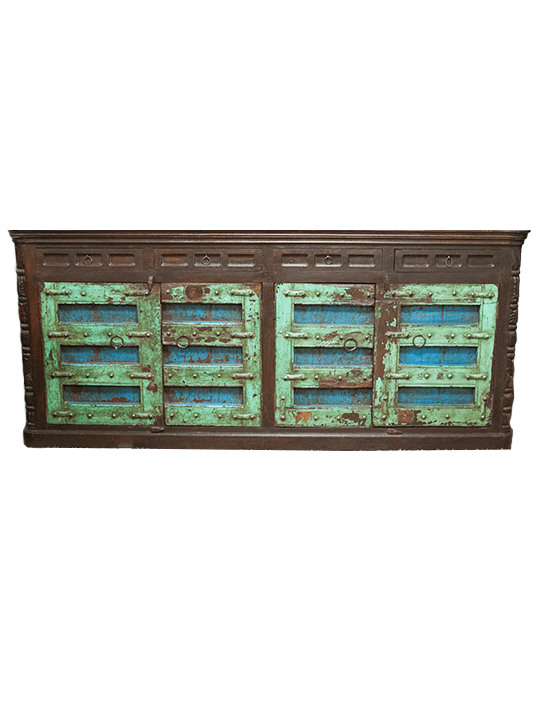 Green and Blue Large Rustic Sideboard
