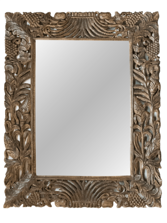 Hand Carved Wood Grape Accent Mirror