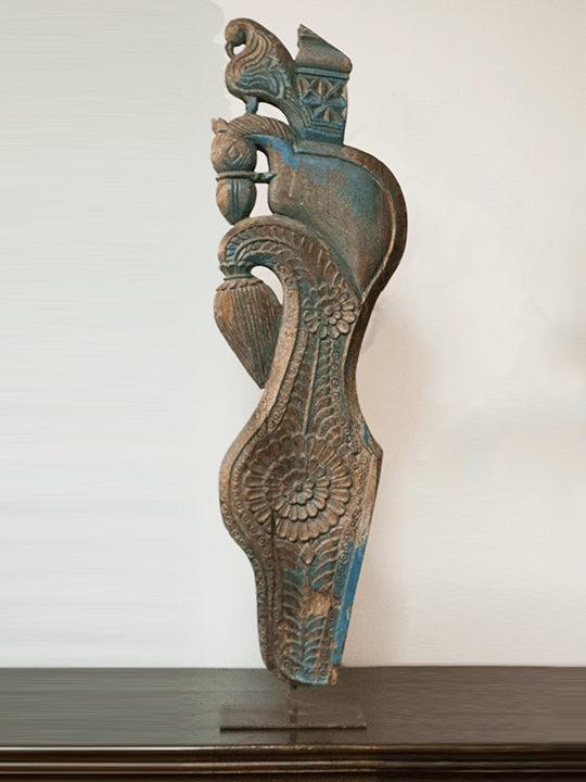 Hand Carved Blue Standing Panel