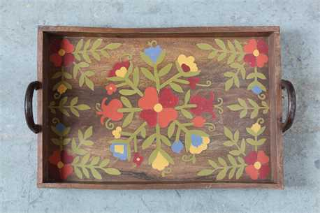 Hand Painted Floral Tray Detail