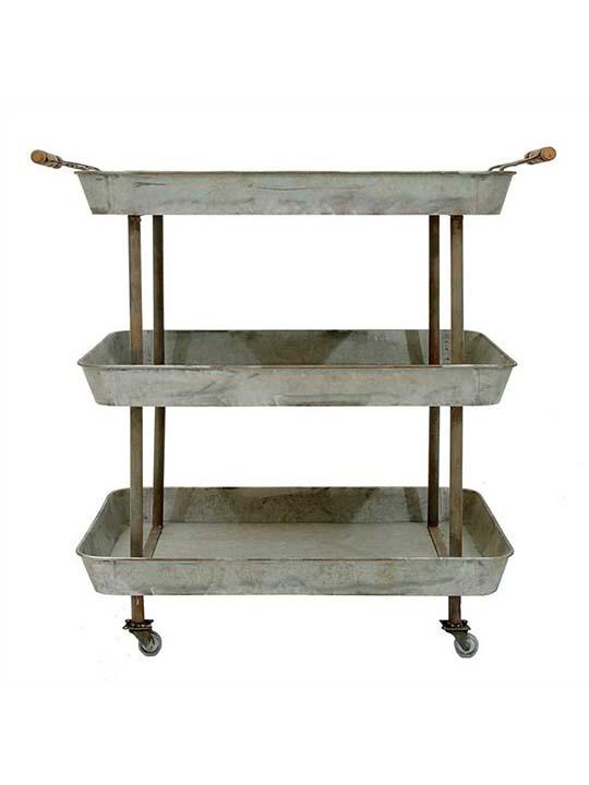 Wonderful Galvanized Metal Cart